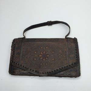 Vintage Boho Tooled Leather Clutch